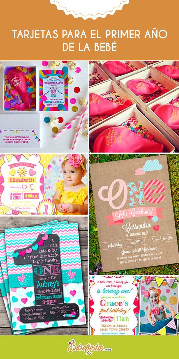 La tarjeta es uno de los elementos indispensables de la fiesta; una vez establecida la fecha de celebración del primer cumpleaños de tu beba, deberás buscar una invitación que se ajuste a la temática establecida. Aquí te presentaremos algunas ideas que puedes utilizar, con diversos tamaños, formas, y colores.