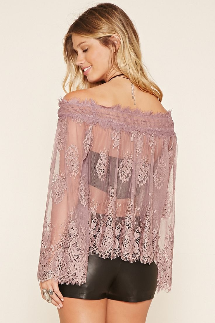Forever 21 Contemporary - A knit open mesh off-the-shoulder top featuring an elasticized neckline with eyelash lace trim, floral embroidery, long bell sleeves, and a scalloped hem.