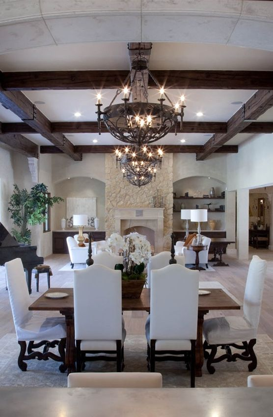 love the dining set without the removable slipcovers on chairs would look great in your dining room with that chandelier you have