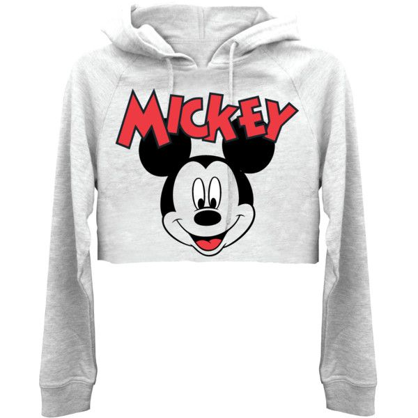 Happy Mickey Womens Crop Hoodie | T-Shirt Mall (21 BAM) ❤ liked on Polyvore featuring tops, hoodies, white crop top, hooded pullover, cropped hoodies, white hoodies and cropped hoodie