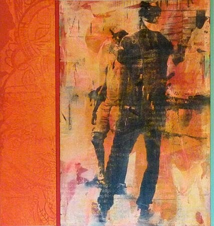 Robert Boynes, 'Watching the Light' 2012, acrylic on canvas, timber - diptych, 120 x 114cm