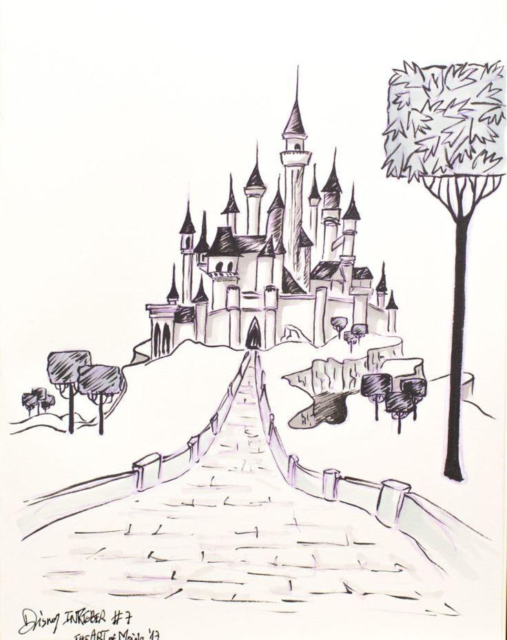 """""""La princesse en grandissant aura la grâce et la beauté, chacun l'aimera et lui sera dévoué. Mais ma volonté est telle qu'avant l'aube de ses seizeans, elle se piquera le doigt à la pointe d'une quenouille et en mourra."""" ... Ah ah ah... et bah non, elle dormira ! 😝 Alors du coup, j'ai pris mon carnet, et regardé le dessin animé, puis j'ai mis pause sur une des images du château. Il ressemble bien à celui de Disneyland Paris, mais en tout de même plus grand ..."""