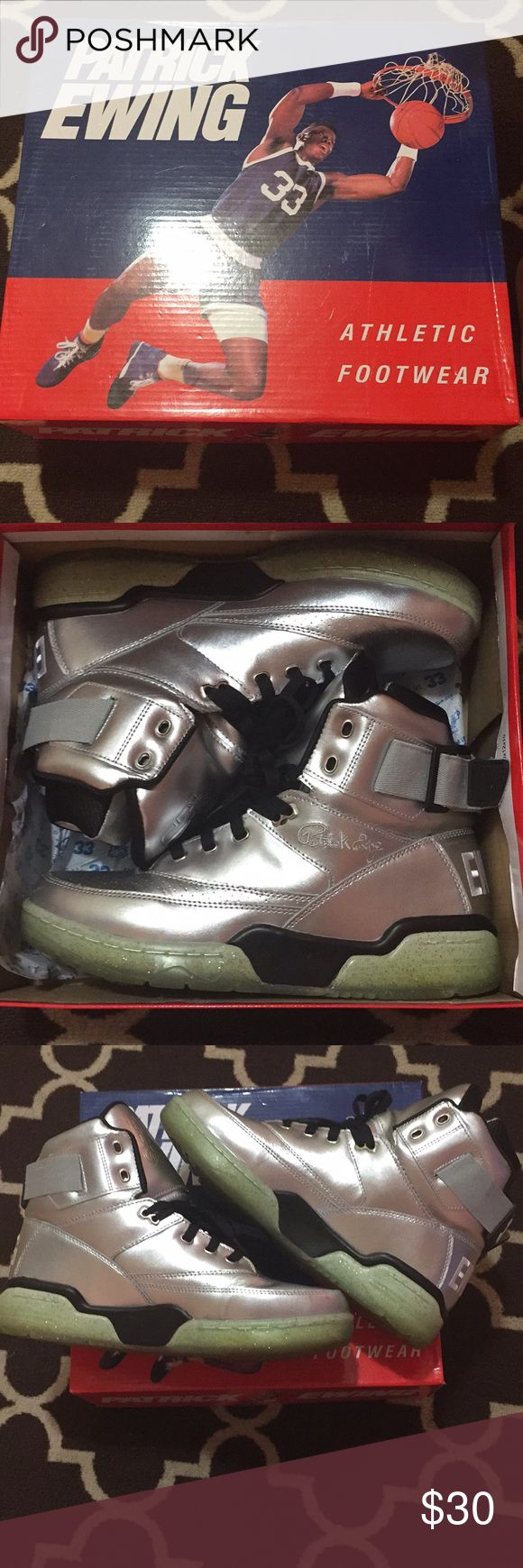 Patrick Ewing Athletic Footwear Silver Patrick Ewing shoes only worn once. Small crease on left shoe Ewing 33 HI Shoes Athletic Shoes