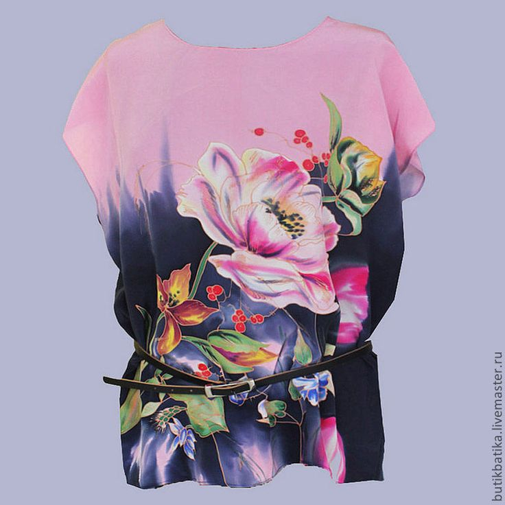 Купить Топ шелковый Батик Голландский букет - цветочный, букет, Батик, блузка, топ, шелк