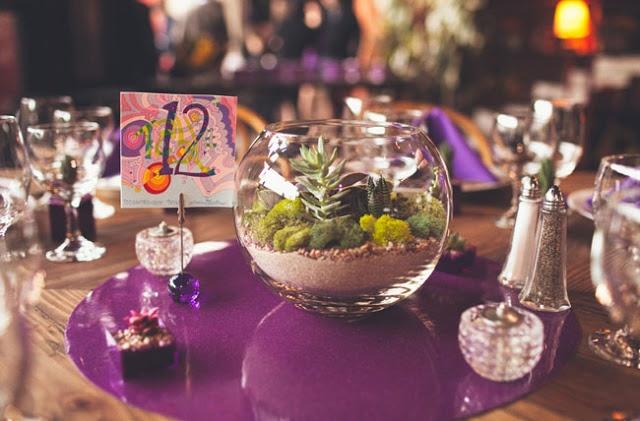 terrariums for centerpieces - purple theme