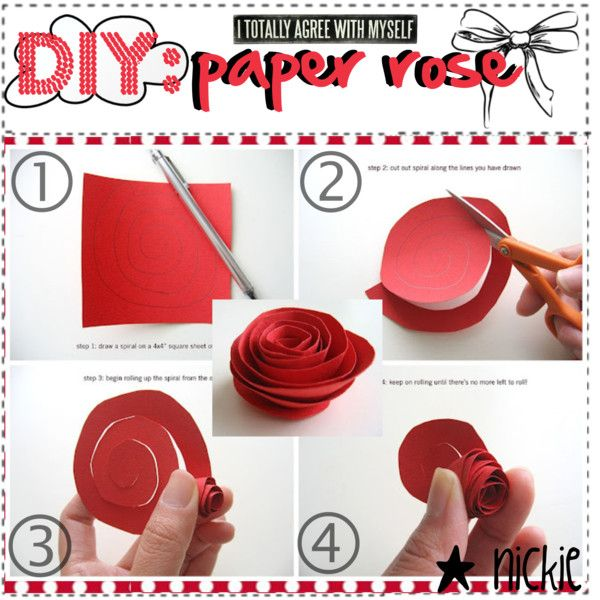 """""""DIY: paper rose(:"""" @Candra Cook, needing to make a bunch of these (except from pages of a book or dictionary) for decoration. going to """"splat"""" red paint on it to paint the roses red, in order to bring in an Alice theme into it again."""