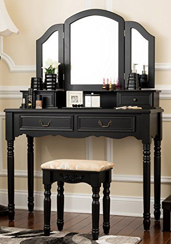 Fineboard Wooden Vanity Set, Dressing Table with 3 Mirrors and Stool, Four Drawer Make up Table  Handy 3-mirror design - this premium quality and undeniably elegant dressing table and stool vanity set comes with an original and extremely handy 3-mirror design. Move the mirrors as you want until you perfect your makeup and hairstyleLarge storage space - relax, you can store all of your makeup, accessories and jewelry with the 4 organizational drawers. They can pull out, give you enou..