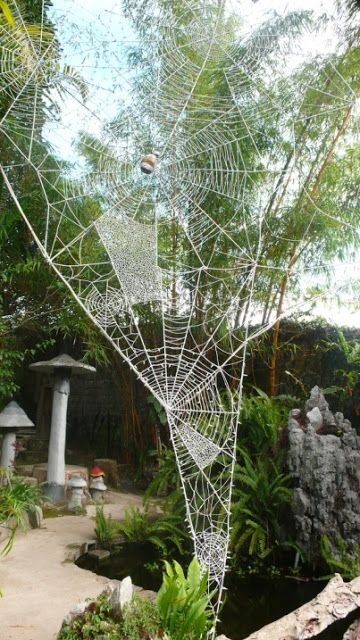 Bohemian Pages: More Garden Art..... spider webs from wire--love these!
