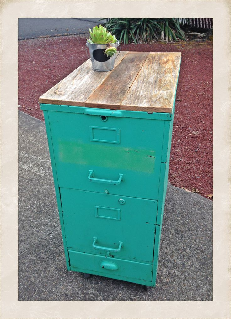 Steel filing cabinet with original paint & reclaimed wood top. #patinaandwhimsy