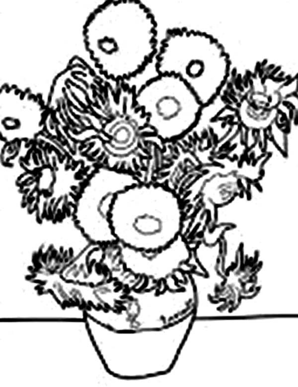 van goghs sunflowers coloring pages | 85 best sunflower coloring page van gogh images on ...