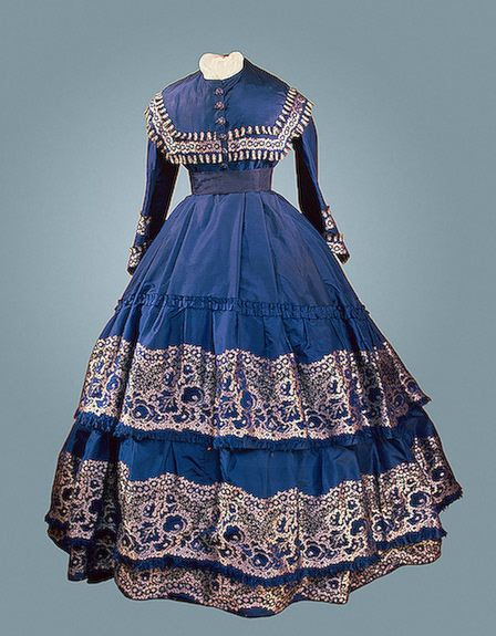 Lady's Dress St Petersburg Russia. 1860s Faille with a woven pettern