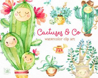 Cactuses & Co. Cute Floral watercolor clip art, succulents, potted, flowers, smile, cards, diy, invite, baby, colorful, foliage, stickers