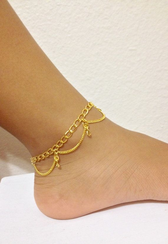Gold chain anklet gold anklet bohemian jewelry bohemian anklet boho grunge