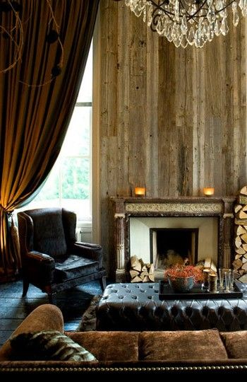 so many things I adore about this room, but that wall behind the fireplace is drama!   greige: interior design ideas and inspiration for the transitional home : Masculine winter...