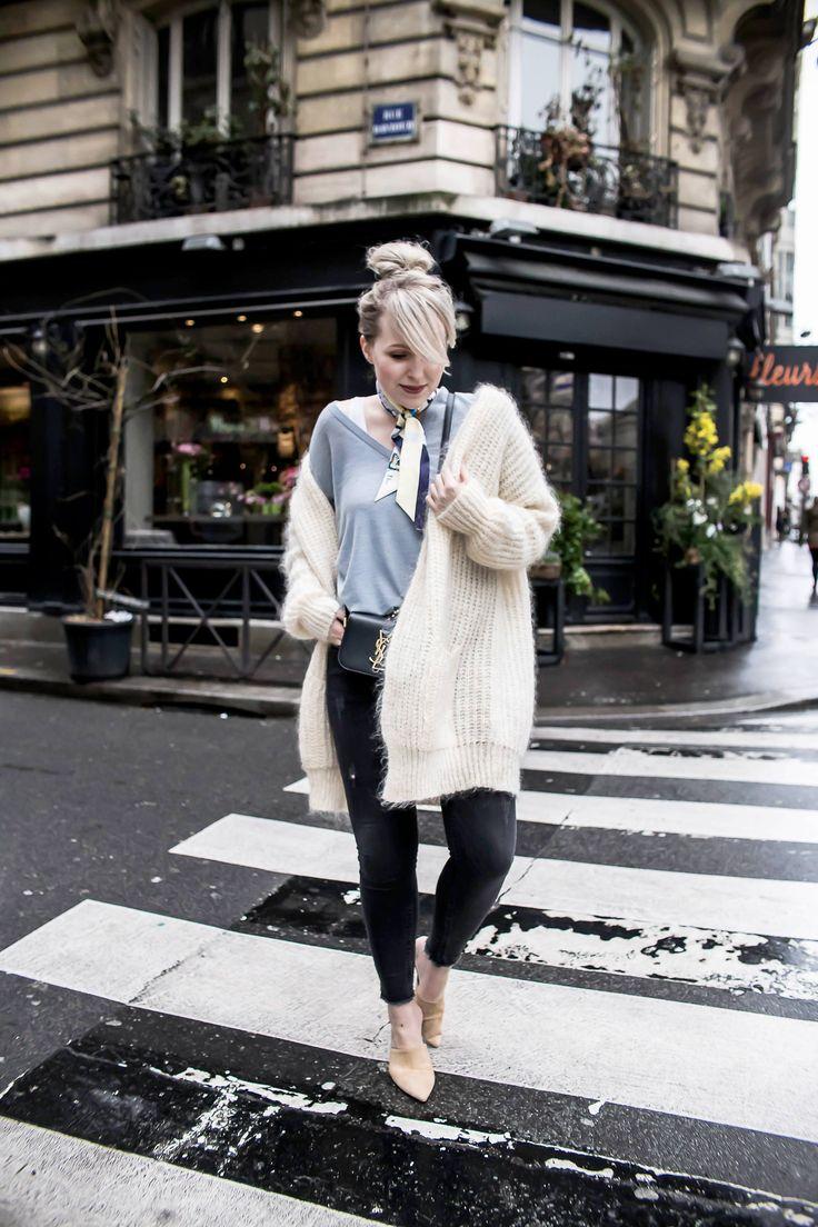 Paris Streetstyle Oversize Cardigan Dior scarf Pumps