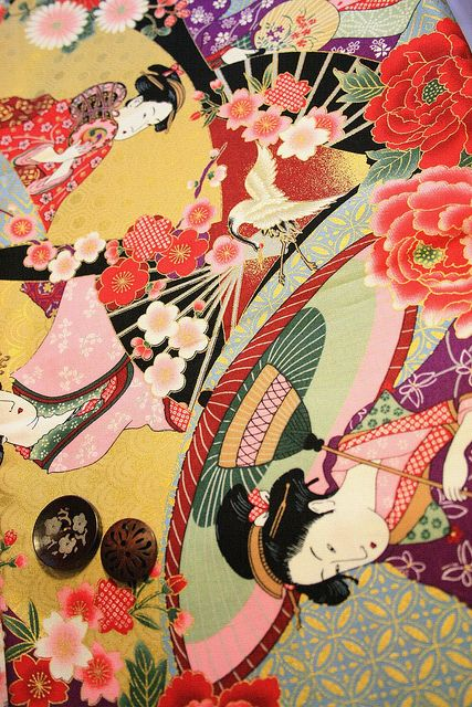 Japanese kimono fabric http://www.flickr.com/photos/carolmaro/6833636032/in/set-72157629216618487