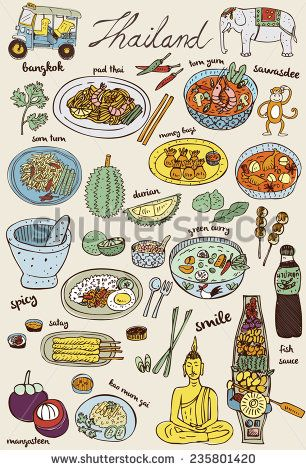 Doodles Thai food and icons set, vector - stock vector