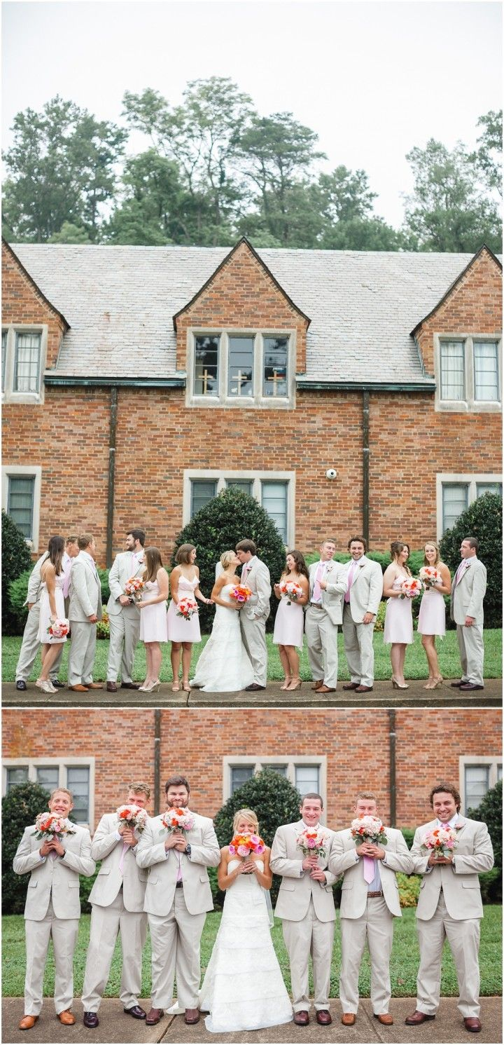 Funny photo of the bride with the groomsmen! Click to view more from this Tennessee wedding.