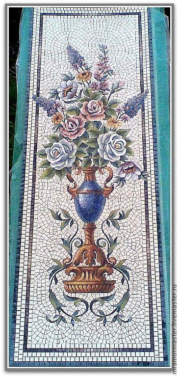 Купить или заказать Мозаичное настенное панно 'Цветы в синей вазе' Мрамор в интернет-магазине на Ярмарке Мастеров. Сезонные скидки!!! Мозаичное настенное панно классической сборки со швом под затирку. Габаритные размеры 1400*500 мм, толщина изделий 7 мм.Использованы редкие породы природного синего мрамора - азул бахия и азул макауба и гармонично подобранные сорта натурального камня разных оттенков. Парное панно можно использовать для оформления простенков рядом с камином, колонн или пилястр.