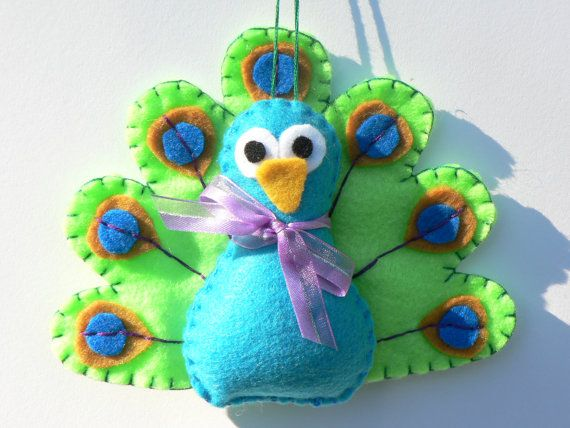 Felt Bird Ornament  Felt Peacock Ornament by FeltLikeIt1 on Etsy, $12.00