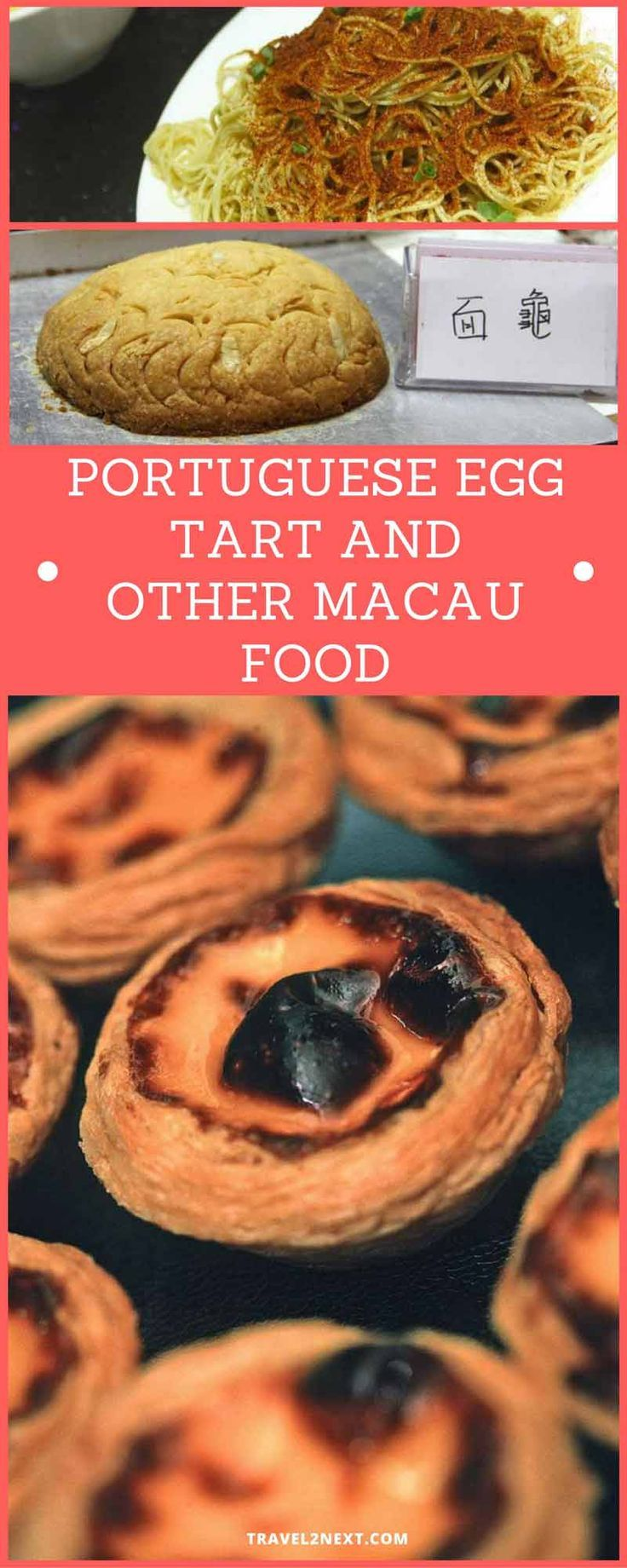 Portuguese egg tart and other Macau food. Macanese cuisine is a melding of Portuguese and southern Chinese culinary styles.