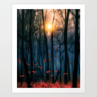Art print of landscape, beautiful forest.  Red feather dance (colour option) by Viviana Gonzalez