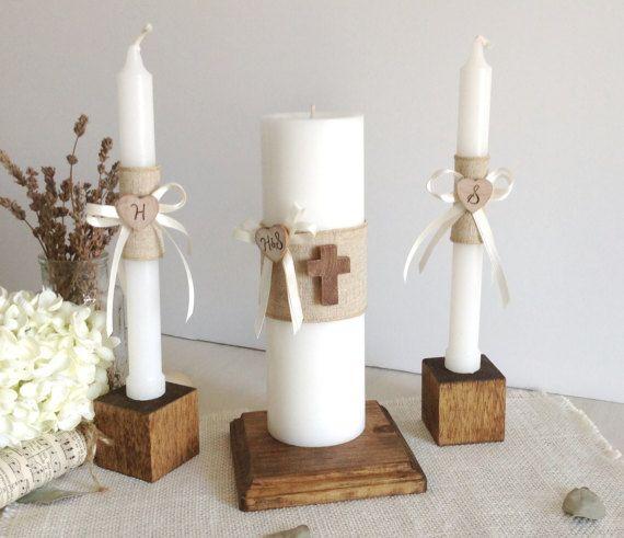 Rústico madera unidad vela conjunto con Cruz sostenedor de