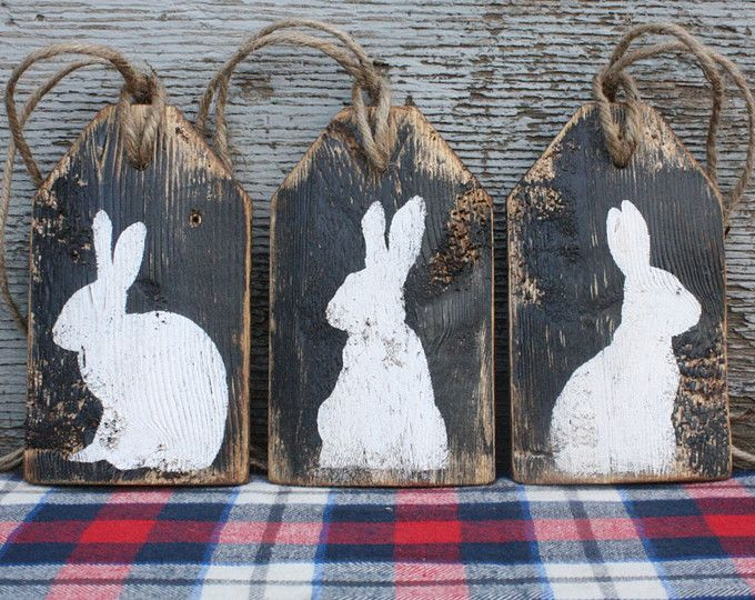 Easter Decor Bunny Rabbit Sign Rustic Distressed Wood Large Wreath Tag Sign Set