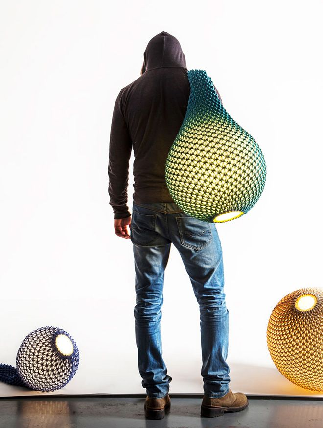 crocheted or Knitted lamps by Ariel Zuckerman