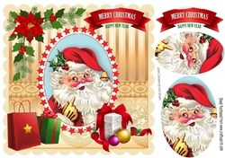 Santa with lots of presents oval pyramids with poinsettias 8x8 on Craftsuprint - View Now!