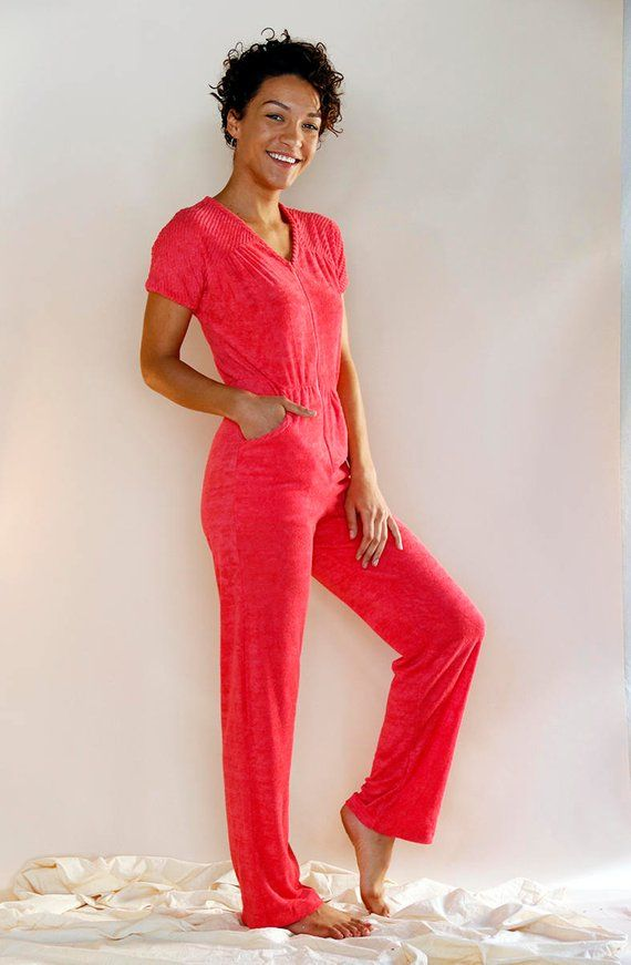 4ddc41a83df Vintage 70 s Pink Terry Cloth Jumpsuit