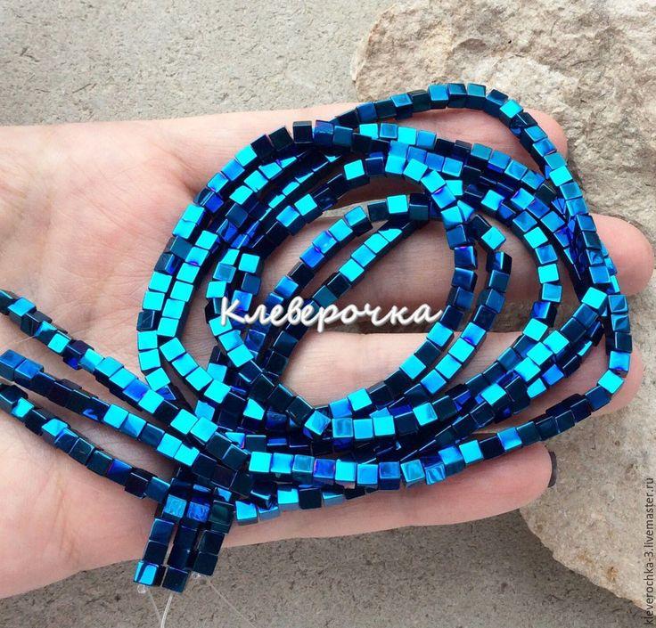Купить 10 шт/ Гематит 3,5 мм синий кубик бусины камень см.описание и фото
