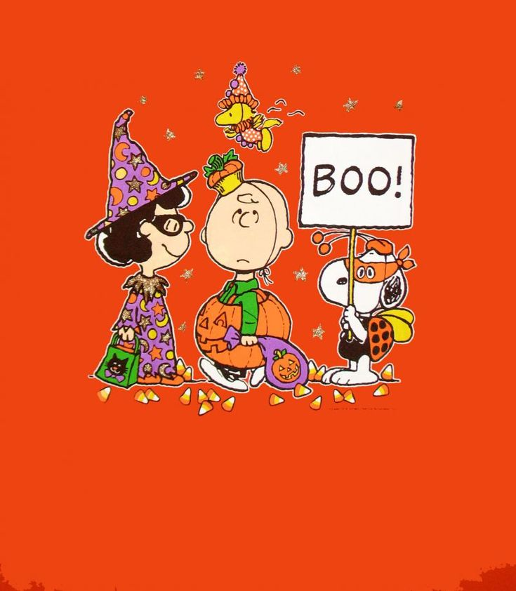 Snoopy, Woodstock, Charlie Brown and Lucy out for trick or treating
