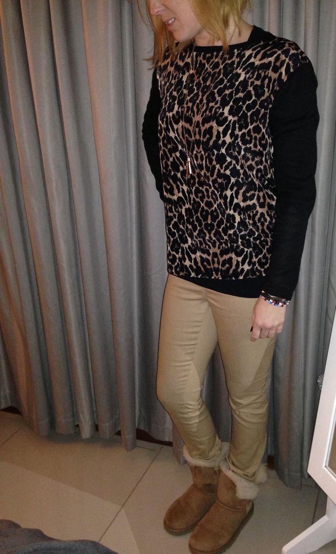 weekend casual, uggs, beige and leopard print