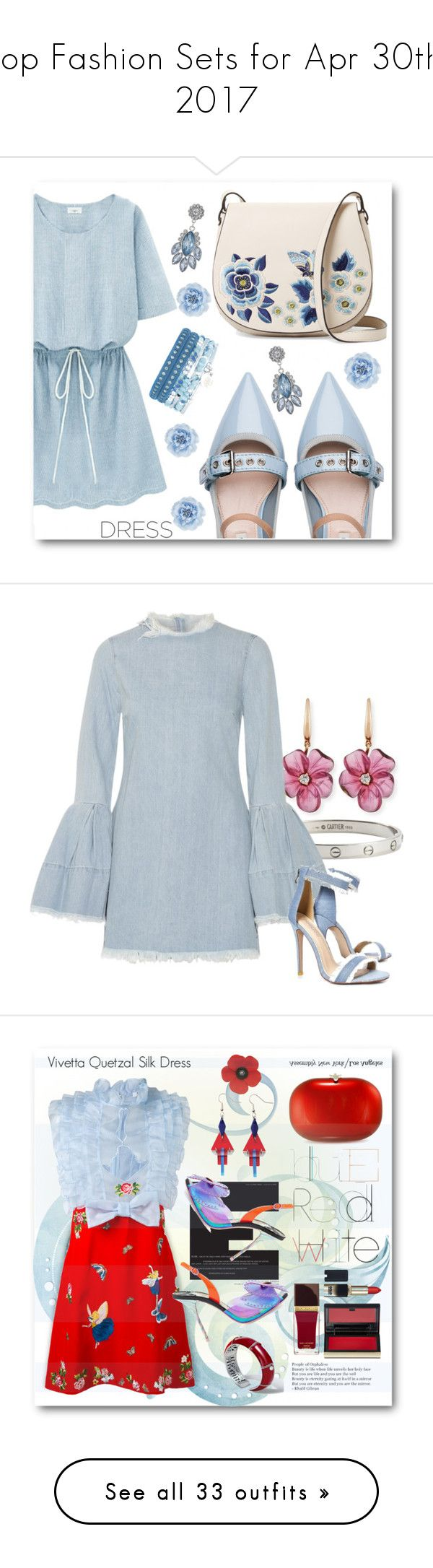 """""""Top Fashion Sets for Apr 30th, 2017"""" by polyvore ❤ liked on Polyvore featuring Miu Miu, French Connection, Monsoon, dress, dreamydresses, Cartier, Rina Limor, Marques'Almeida, Boohoo and Jeffrey Levinson"""