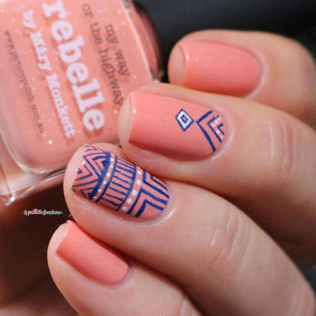 Picture polish Rebelle // blue aztec print nail art over peach nail polish - freehanded with @mittyburns brushes