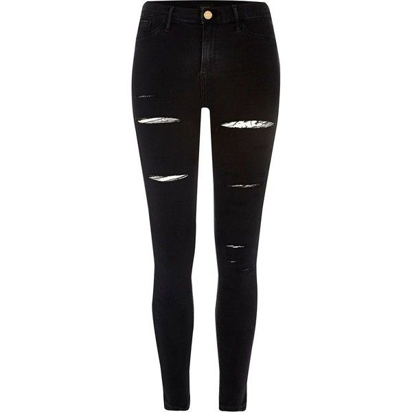 River Island Petite black ripped Molly jeggings (£45) ❤ liked on Polyvore featuring pants, leggings, distressed leggings, skinny jean leggings, petite pants, denim jeggings and skinny jeggings