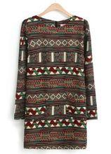 2015 бренд Desigual летние мода женщин платья этническая испания многоцветный с длинным рукавом племенной узор карандаш почтовый платье(China (Mainland))