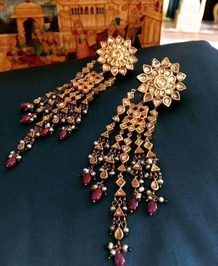 Stunning polki jadau ruby diamond earrings More