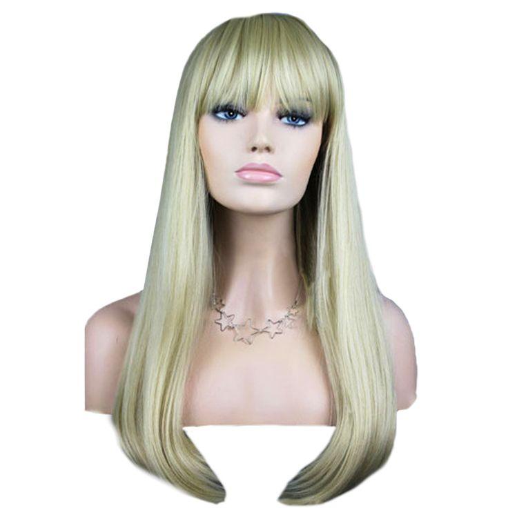 女性の ファッション かつら髪かつら前髪と シルバー長い ストレート髪かつら 88