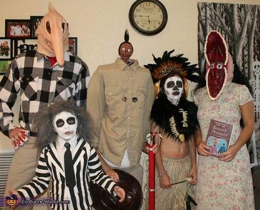 Ashley: Our family/ group costume!! =) This is my hubby, our 3 boys,& myself dressed up as Beetlejuice characters! I used homemade air dry clay to sculpt and create Harry the...
