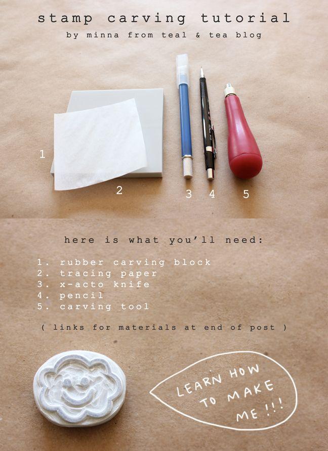 teal + tea blog: diy hand carved stamp tutorial! http://tealandtea.blogspot.com/2012/02/diy-hand-carved-stamp-tutorial.html