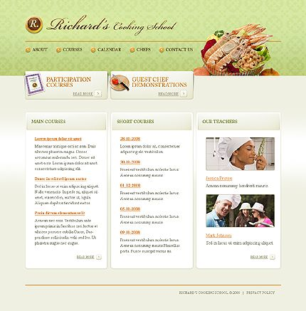 Richard Cooking Website Templates by Oldman