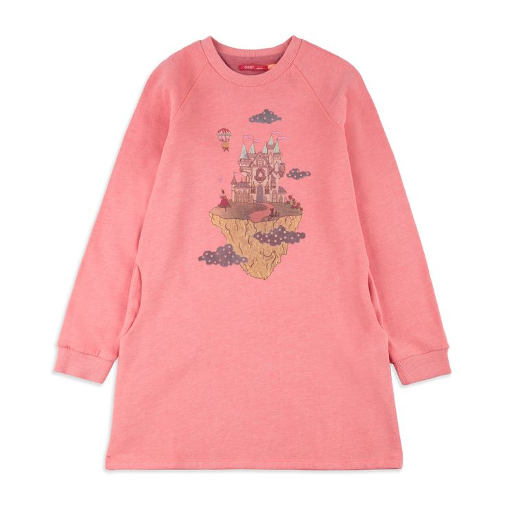 OILILY Girls 'Hippel' Sweat Dress - Pink From £54 Girls long sleeve dress • Soft stretchy cotton • Round neckline • Ribbed collar and cuffs • Colourful castle print • Material: 95% Cotton, 5% Elastane