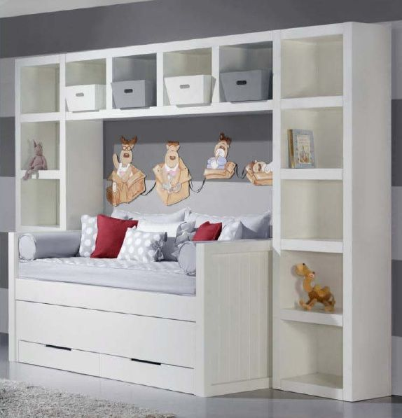 Cama nido doble con estanter a puente habitaci n ni os for Muebles nido ikea