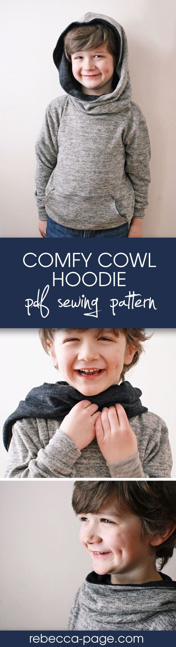 Super comfy and oh so cosy, the Comfy Cowl Hoodie PDF Sewing Pattern has an optional front pocket and is perfect for both boys and girls. Includes sizes newborn to 12 years. Hoodie sewing pattern also available in ladies XXS to 5XL.
