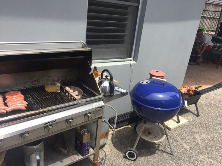 3 grills at once rotisserie chicken paella on the Weber and snags on the flat top #grilling #BBQ #Deals #recipes #discounts #summer #foodie #food #recipe #free
