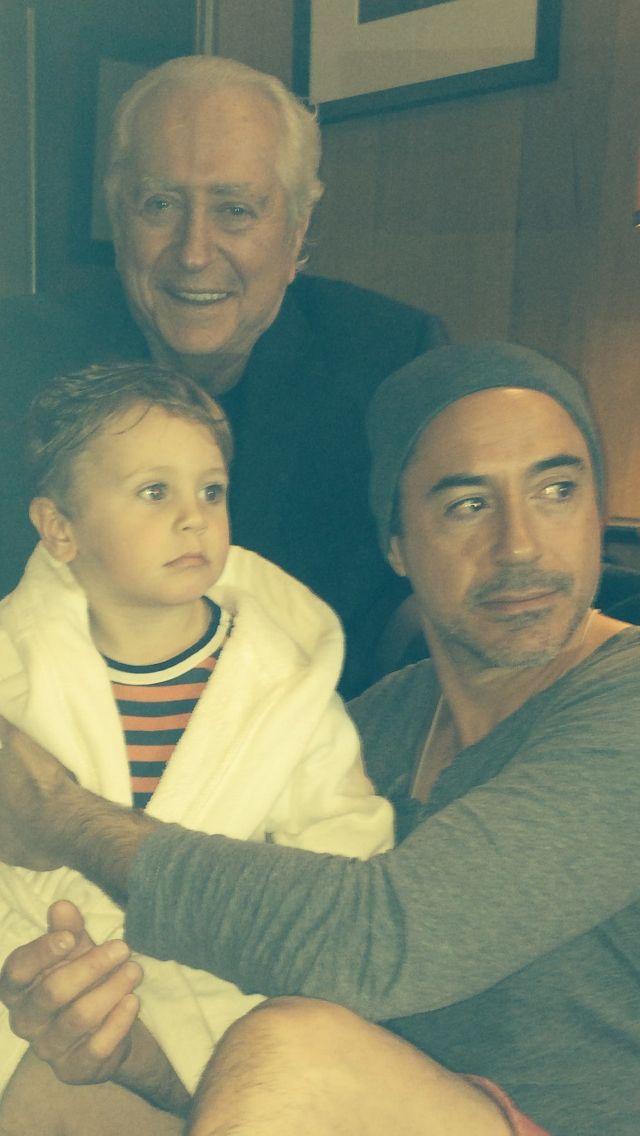 Three generations of Downey men: grandpa Robert Sr., dad Robert Jr. and 2-year-old Exton Elias Downey.  Those handsome genes!
