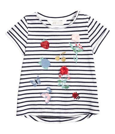 Short-sleeved Top | White/dark blue striped | Kids | H&M US