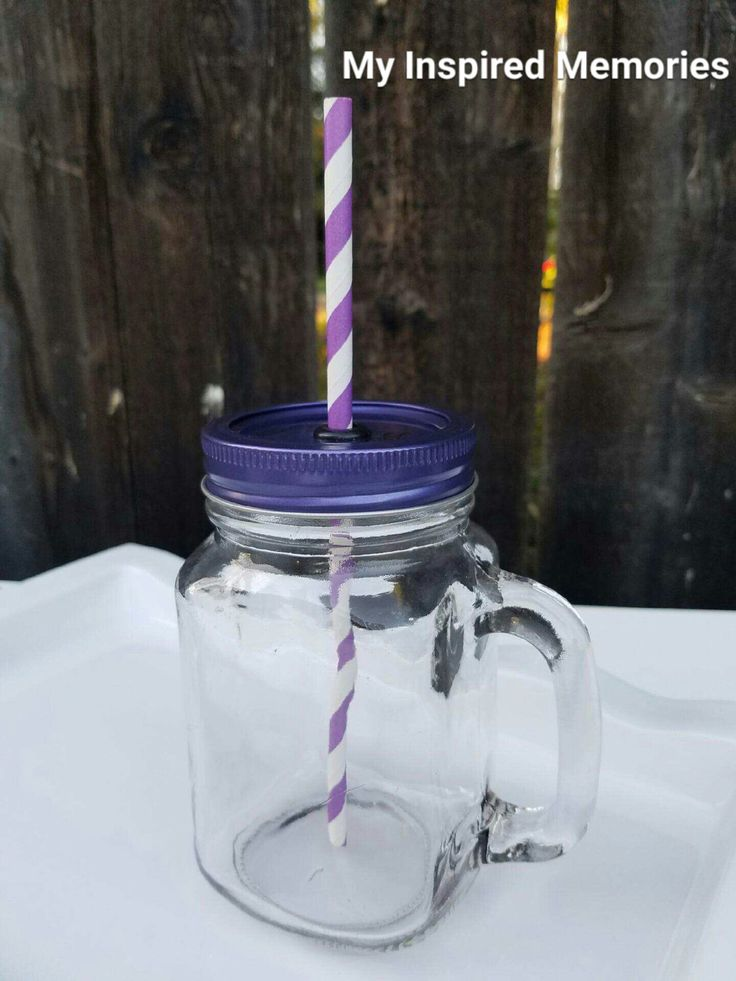 Mason jar mug with handle and straw, purple mason jar lid, purple mason jar set, sofia the first mason jar by MyInspiredMemories on Etsy https://www.etsy.com/listing/288619521/mason-jar-mug-with-handle-and-straw